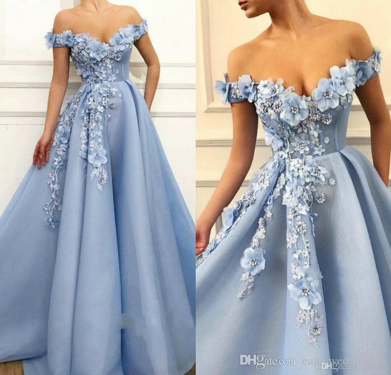 Light Sky Blue Long Prom Dresses Lace 3D Floral Appliqued Pearls Evening Gowns Off The Shoulder A Line Tulle Summer Beach Party Dress