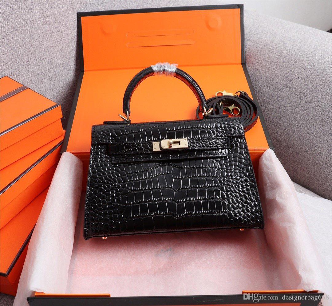 Classic Designer Borse Da Donna Borse A Spalla Mini Strap Crossbody di Alta Qualità Del Cuoio Genuino Del Modello Coccodrillo Borsa 22 cm