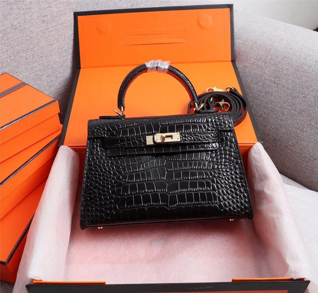 Diseñador clásica mujeres de los bolsos Bolsa de hombro Mini correa de Crossbody de alta calidad del cuero genuino del patrón del cocodrilo del bolso 22cm