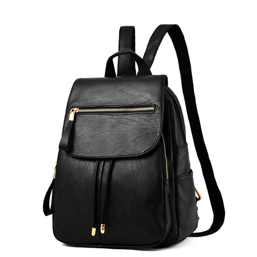 good qualityCasual Women Pu Leather Backpack Brand Students Schoolbag For Teenage Girls Backpack Solid Black Travel Back Bag