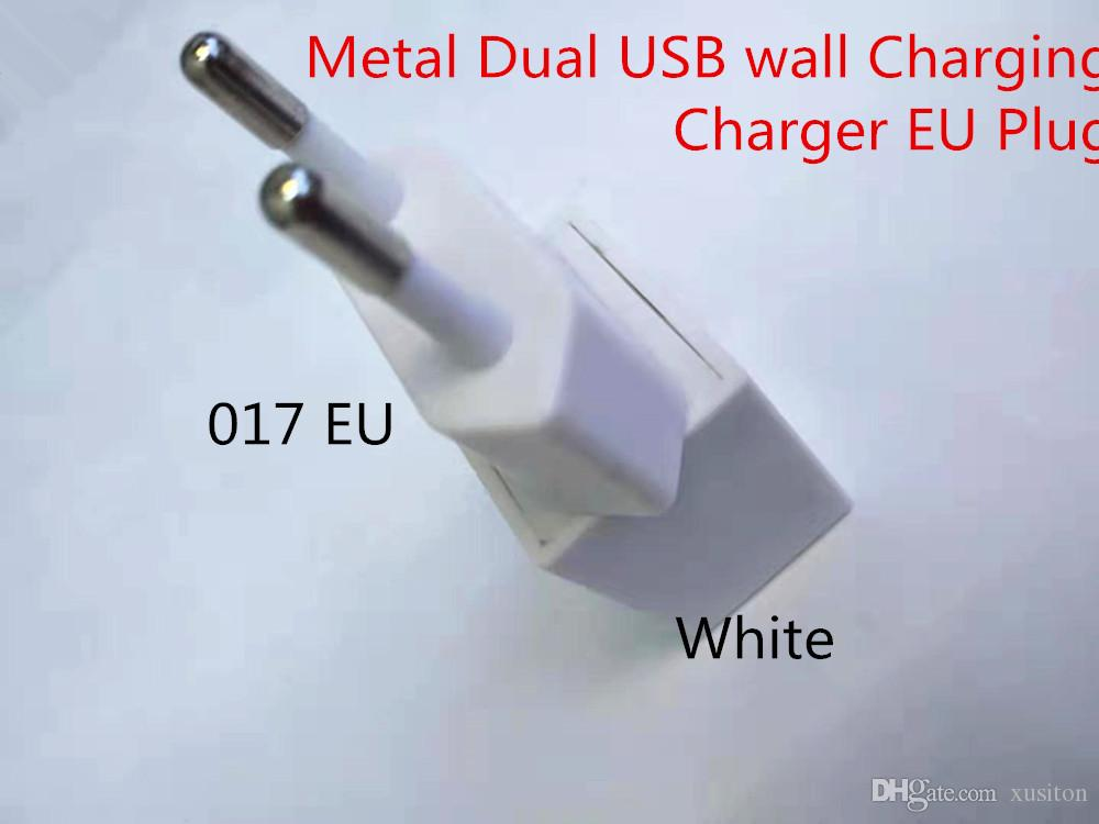017 Metal Dual USB wall Charging EU Plug INPUT 5V-1A AC Power Adapter Charger Plug for Iphone Samsung Tablet Ipad high-quality fast charging