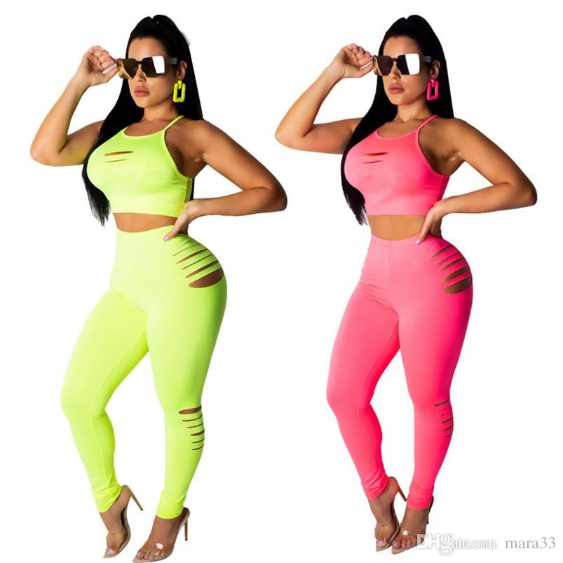 Champions Women summer 2 piece set sweatsuit tank top tops vest hollow out print letter Plus Size ripped pullover t-shirt leggings pants 414