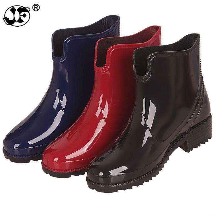 898d479aecd 2018 New Rubber Boots for Women PVC Ankle Rain Boots Waterproof Trendy  Jelly Women Boot Elastic Band Rainy Shoes Woman88