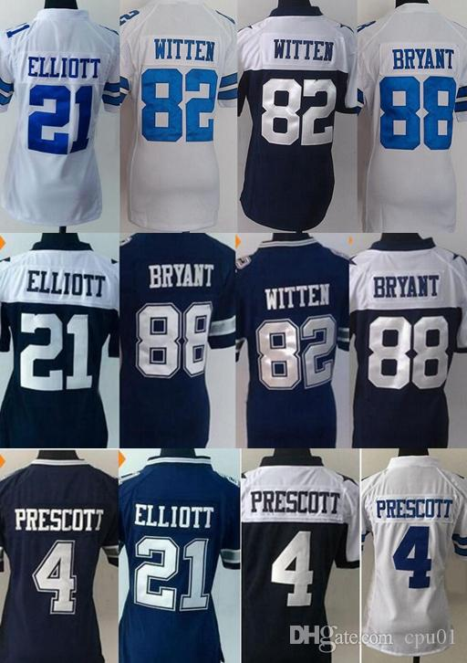online retailer 105c7 7905c All Stitched Womens 21 Ezekiel Elliott Jersey 4 Dak Prescott 88 Dez Bryant  Blue Thanksgiving Women Dallas Cowboy Jerseys embroidery logo