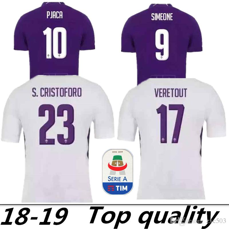 quality design 5c727 4810d 2018-2019 Fiorentina AWAY white SOCCER JERSEY 9 SIMEONE 17 VERETOUT 18 19  florence home purple 10 PJACA adui quality football shirall Shirts