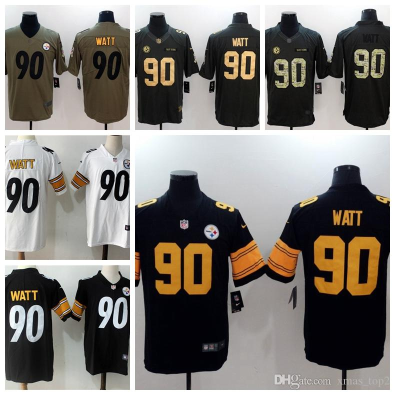 super popular 89618 9863e 2019 New Mens 90 T.J. Watt Pittsburgh Jersey Steelers Football Jerseys 100%  Stitched Embroidery Steelers T.J. Watt Color Rush Football Shirt