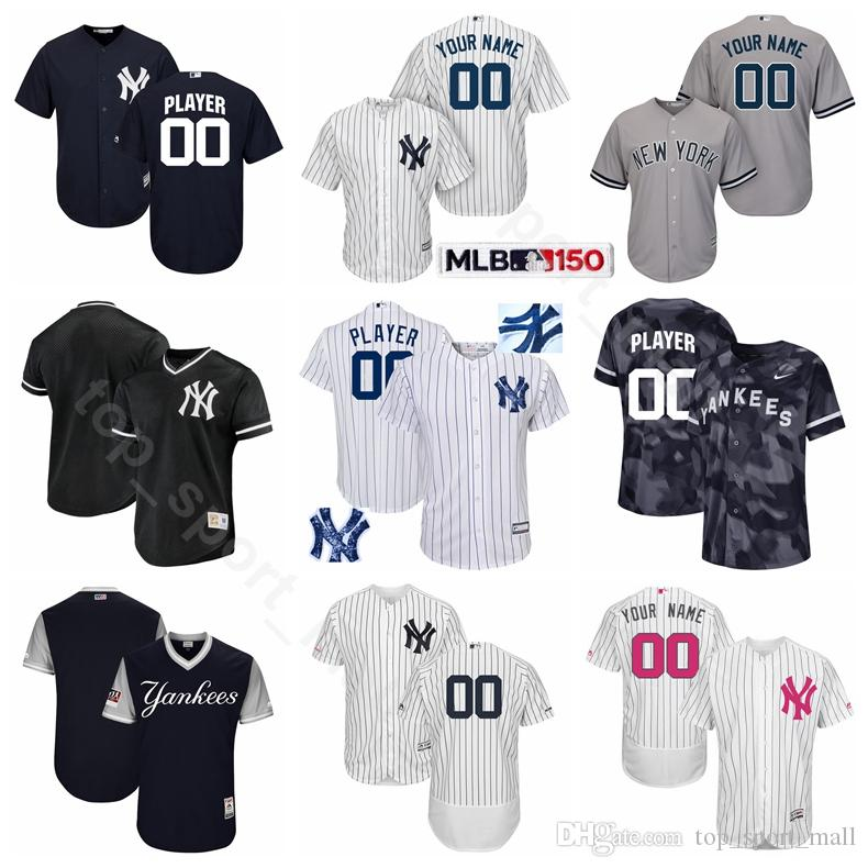new concept ad9cd 3ffa3 New York Baseball Yankees 99 Aaron Judge Jersey 25 Gleyber Torres 11 Brett  Gardner 45 Luke Voit 26 DJ LeMahieu Grey White Blue