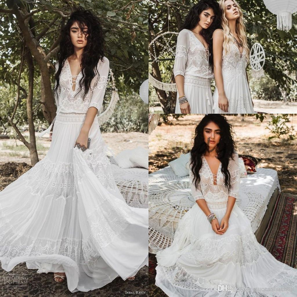 Flowing Flare Greek Goddess Wedding Dresses New Designer 2019 Crochet Lace Holiday Summer Beach Country Boho Bridal Wedding Gown with Sleeve