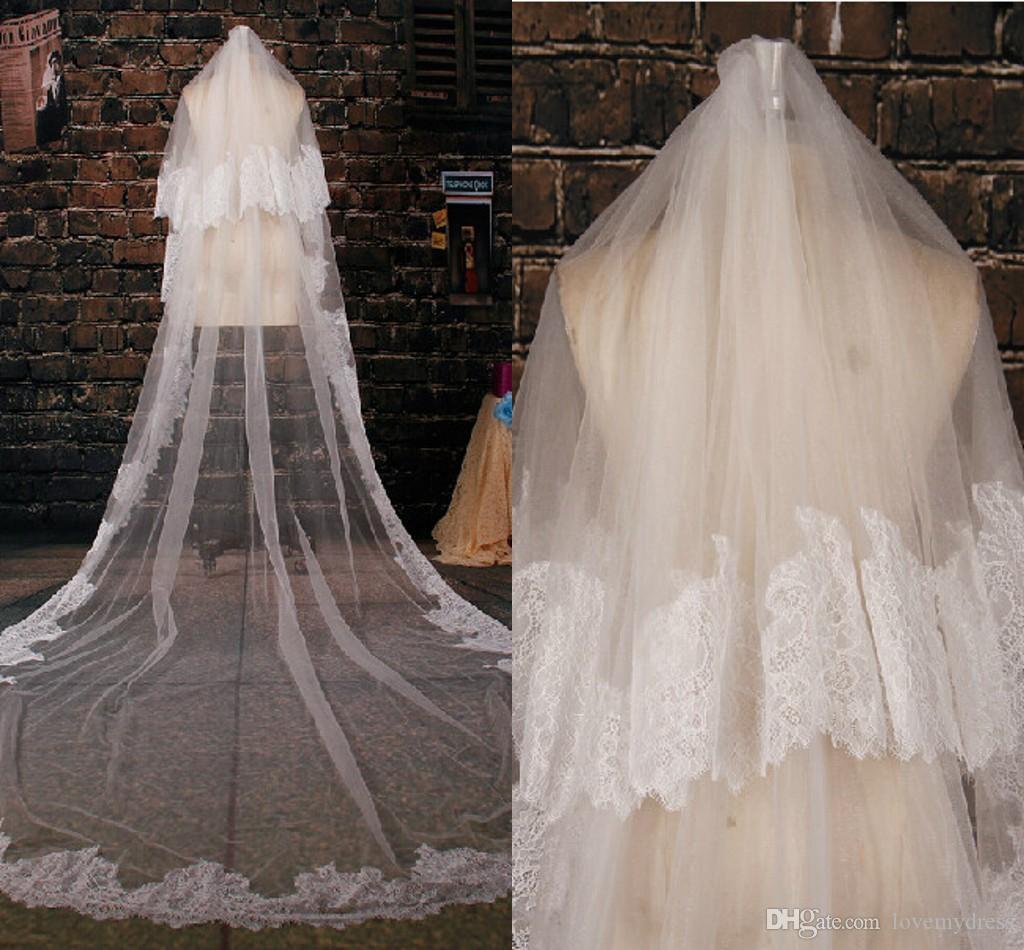 Wedding Veil with Comb Lace Appliques Sequins Bride Veil Voile Mariage Wedding Accessories