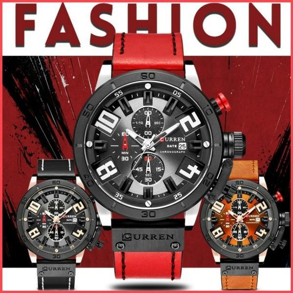 8ecfc5adf9e Compre Curren Mens Relógios Top Marca De Luxo Dos Homens De Ouro Relógio  Pulseira De Couro Dos Homens Moda De Quartzo Esporte Casual Casual Relógio  De Pulso ...
