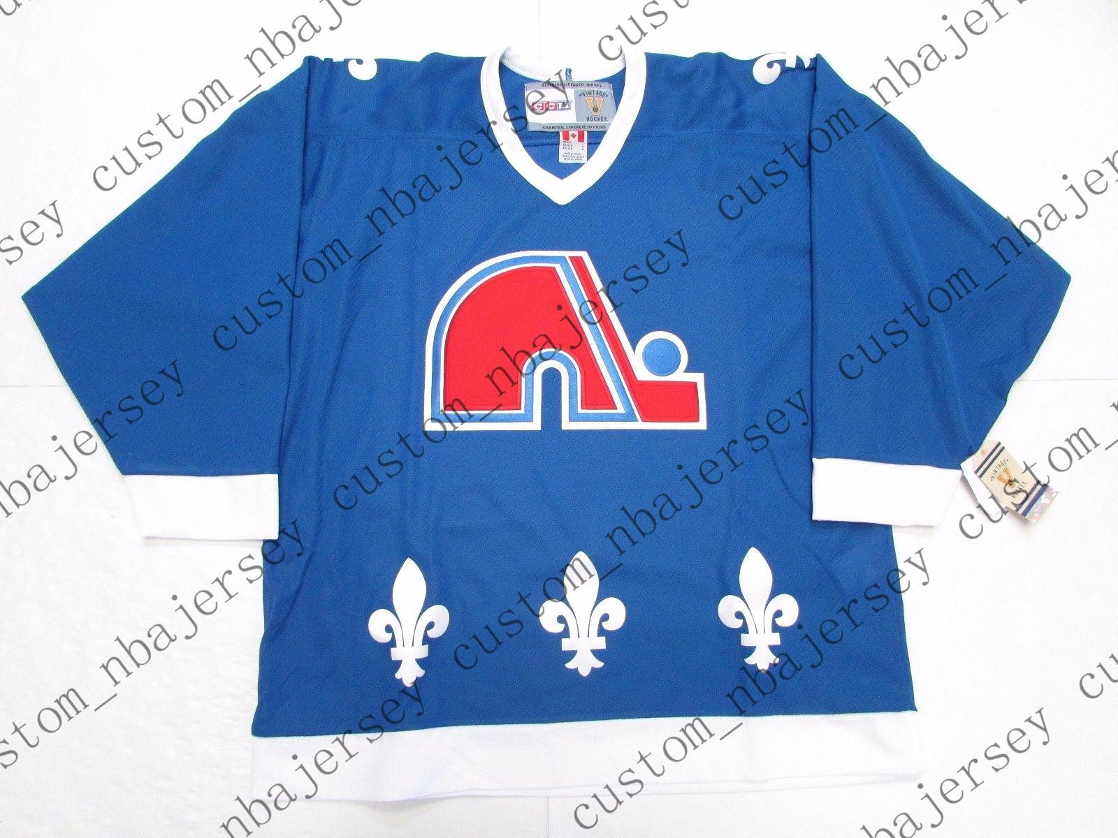 a6d317c35 2019 Cheap Custom QUEBEC NORDIQUES AWAY BLUE VINTAGE CCM HOCKEY JERSEY  Stitch Add Any Number Any Name Mens Hockey Jersey XS 5XL From  Custom nbajersey