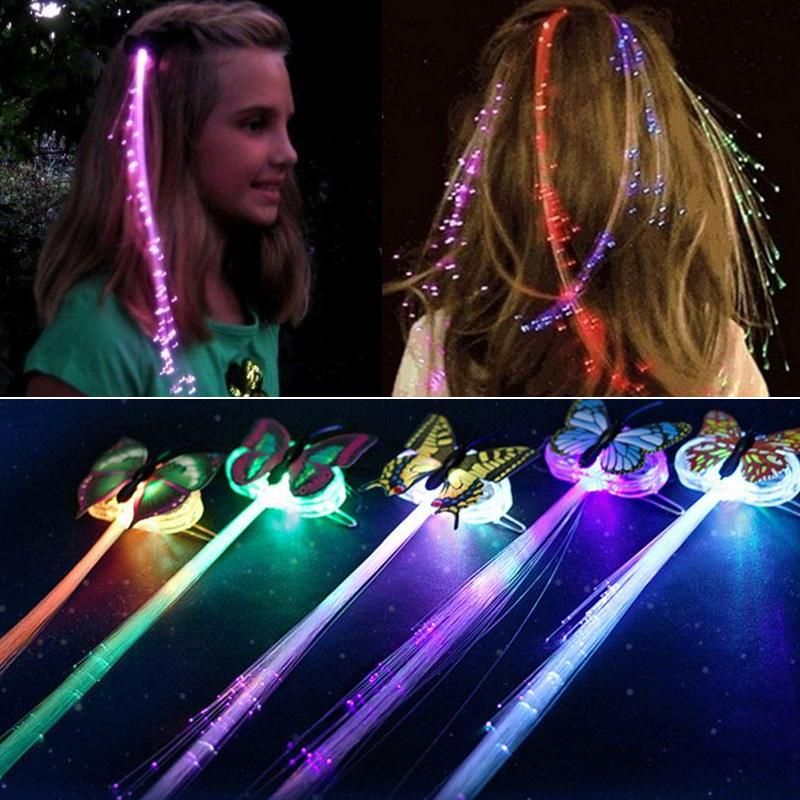 5Pcs LED Flashing Hair Braid Glowing Luminescent Hairpin Hair Ornament Girls LED Novetly Toys New Year Party Christmas