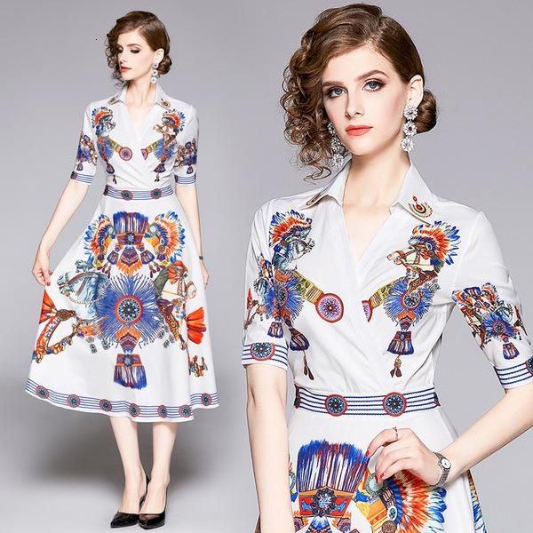 Womens dress V-neck short-sleeved waist slim fit printed long A-line dress casual