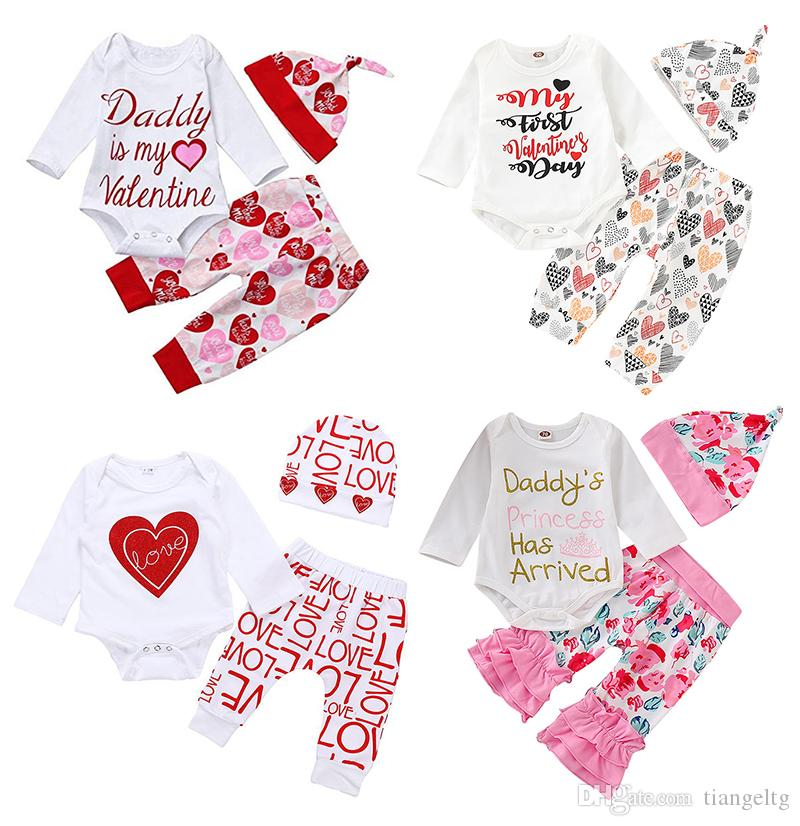 c5d06d652a14 2019 Baby Valentine Rompers Outfits Hearts Floral Rainbow Cactus ...