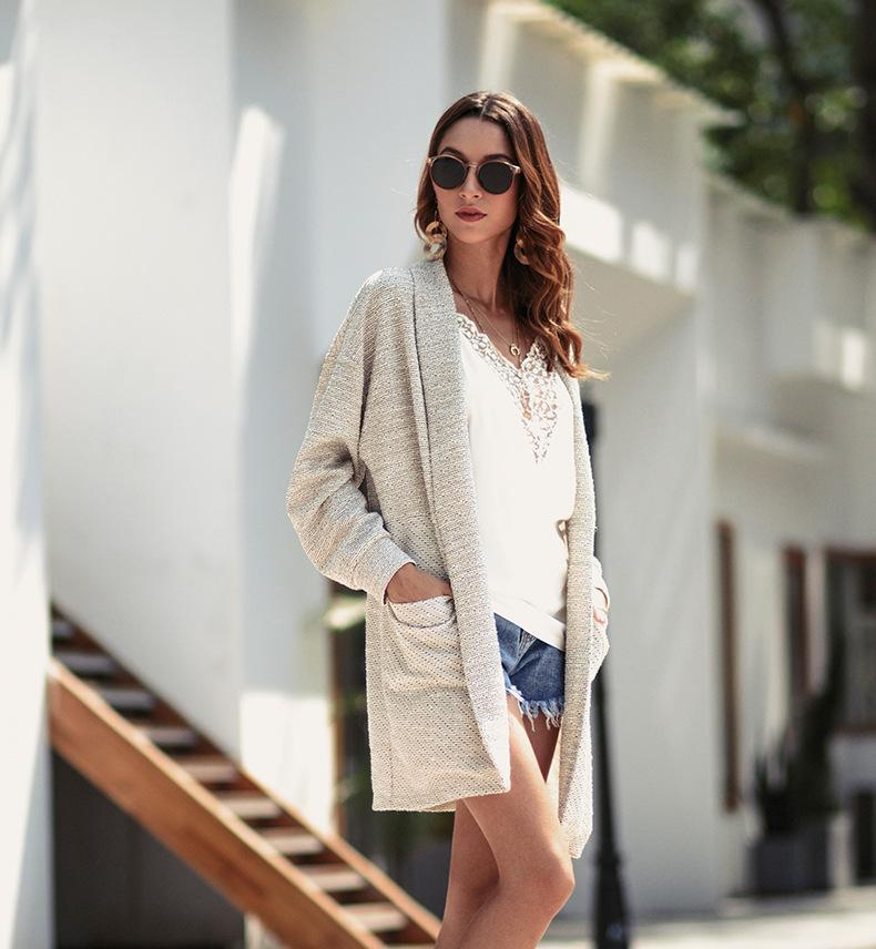 4af2845b7c7e03 Female Cardigan Knitted Korean Women's Sweaters Long Sleeves V-neck 2019 Autumn  Winter Casual Sweater Women Pull Femme Sueter