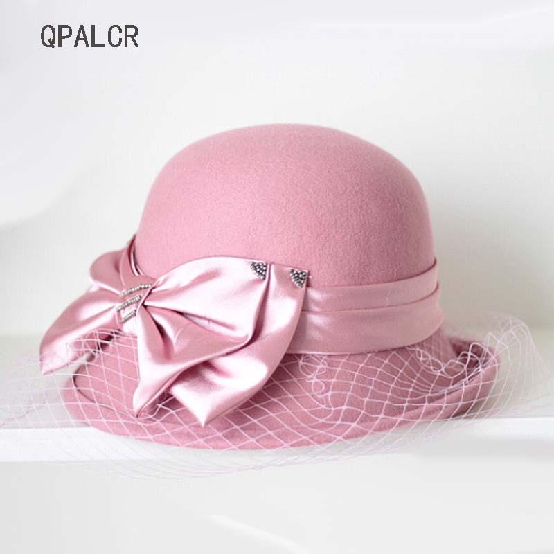6a957213ea6 2019 QPALCR Retro Wool Fedora Hat Women Mesh Bow Felt Hat Cap Ladies  Fashion Female Floral Bucket Hats Dome Trilby Fedoras Winter From Beijiaer