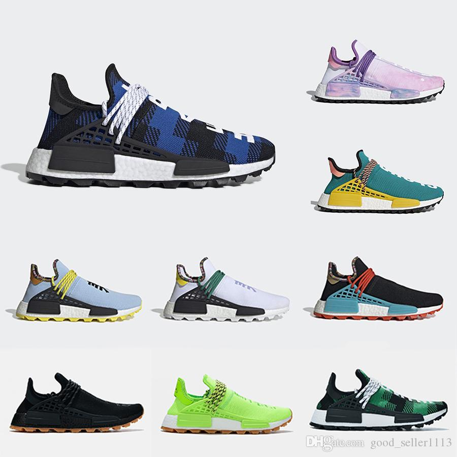 Adidias 36 47 NMD Human Race trail Chaussures de course Hommes Femmes Pharrell Williams HU Runner Jaune Noir Blanc Rouge Vert Gris bleu sport sneaker