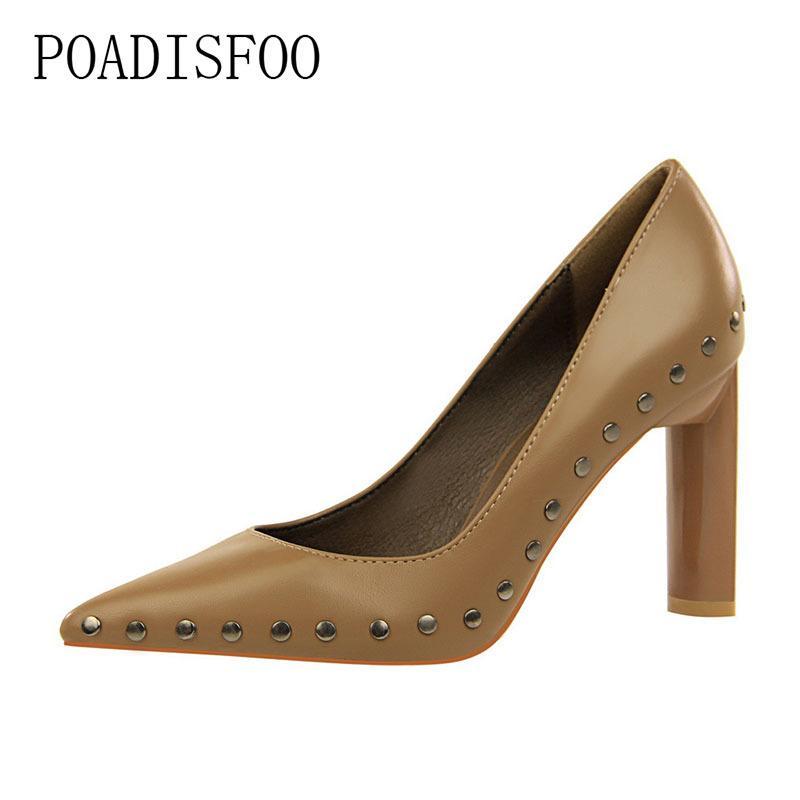 Acquista Designer Dress Shoes POADISFOO Stile Sexy Rock Discoteca Tacchi  Metallici In Metallo Con Spessore Con Tacco Alto Bocca Superficiale A Punta. 80aea942ae4