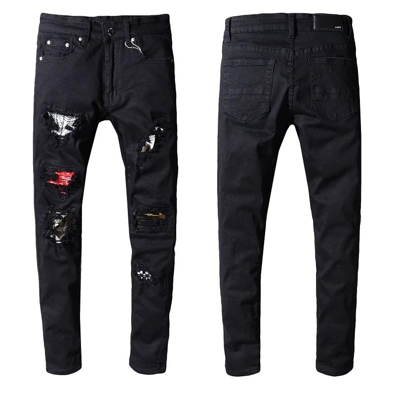Mens designer jeans Ami jeans men's light autumn and winter models wear broken patch Liu Ding diamond splash ink paint Slim XL