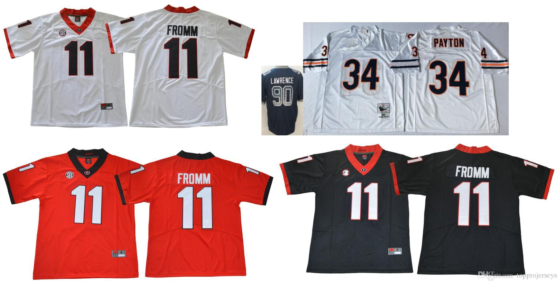 promo code 3e3eb c9ccf Georgia Bulldogs #11 Jake Fromm Mens Vintage College 90 DeMarcus Lawrence  Chicago 34 Walter Payton Color Rush American Football Jerseys