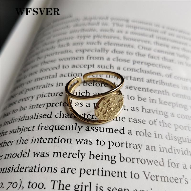 WFSVER 925 sterling silver ring for women fashion gold color double fish  pattern ring opening adjustable fine jewelry gift