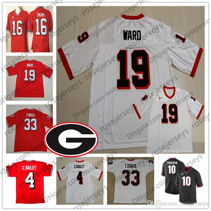 newest collection c587e 10952 Customized Georgia Bulldogs Vintage Jersey #4 Champ Bailey 19 Hines Ward 33  Terrell Davis 10 Fran Tarkenton College Football Red White 4XL