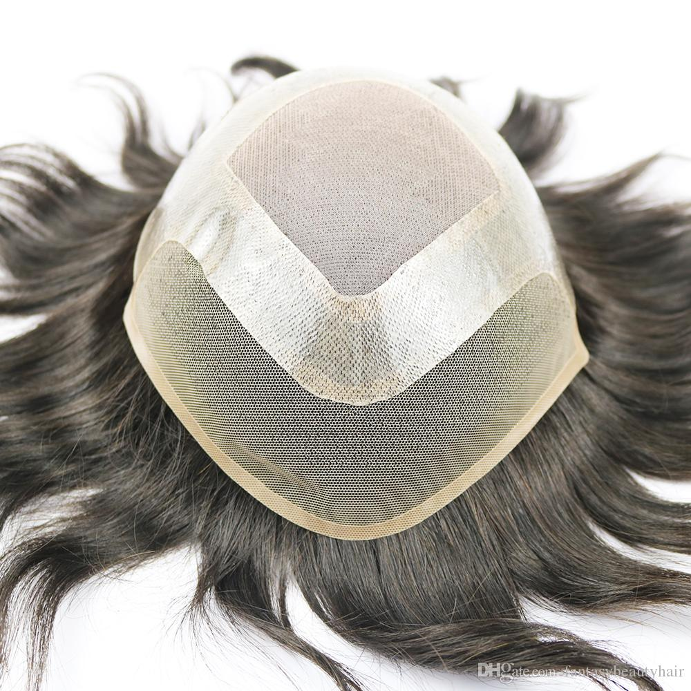 "Toupee for Men Hair Pieces for Men Brazilian virgin human hair Replacement System for Men, 10"" x 8"" Human hair Men Wig"