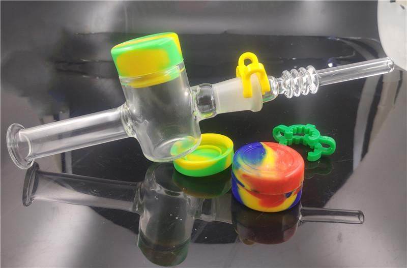 New Desgin Nectar Collector Pipe with14mm 18mm Quartz Tips Keck Clip Silicone Container Reclaimer Nector Collector Kit Glass Oil Burner Pipe