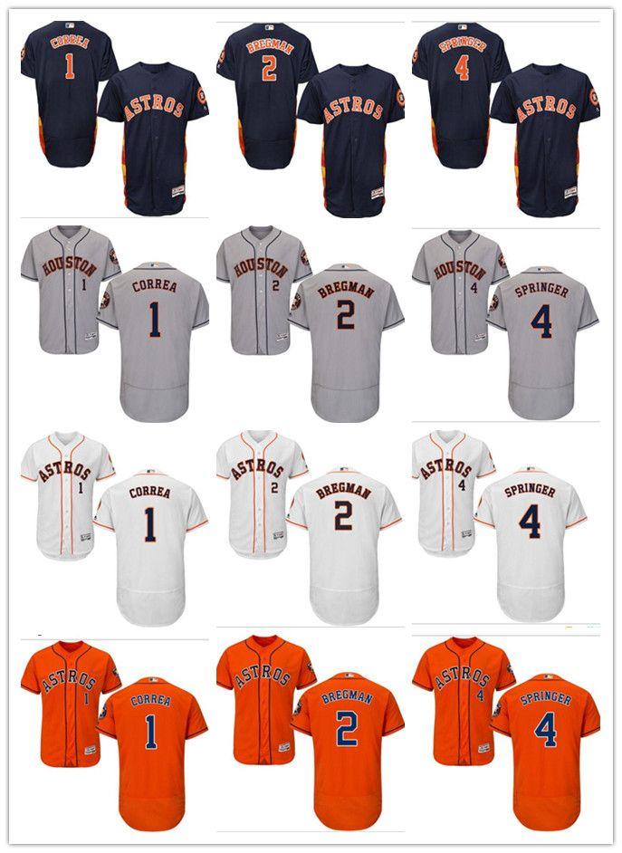 the best attitude 93d55 0f43b custom Men s women youth Houston Astros Jersey #1 Carlos Correa 2 Alex  Bregman 4 George Springer Blue Orange Grey White Baseball Jerseys