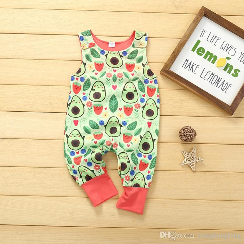 2020 Romper Sleeveless Baby Boys Girls Cute Cotton Fashion avocado plant Print Jumpsuit Summer 0-12 Months