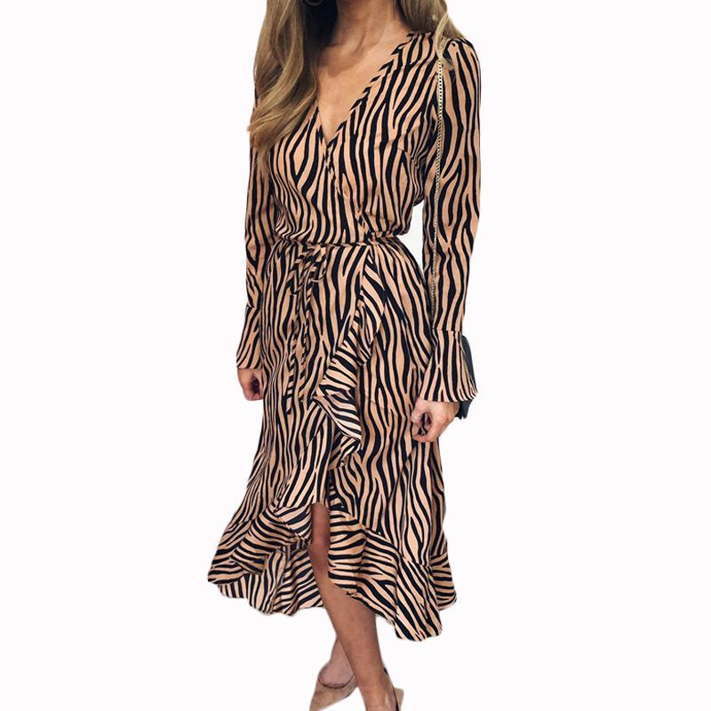 79ab93aa26e5 Summer Long Dresses 2019 Women Zebra Print Beach Chiffon Dress Casual Long  Sleeve V Neck Ruffles Elegant Party Dress Vestidos Womens Party Dresses  Spring ...