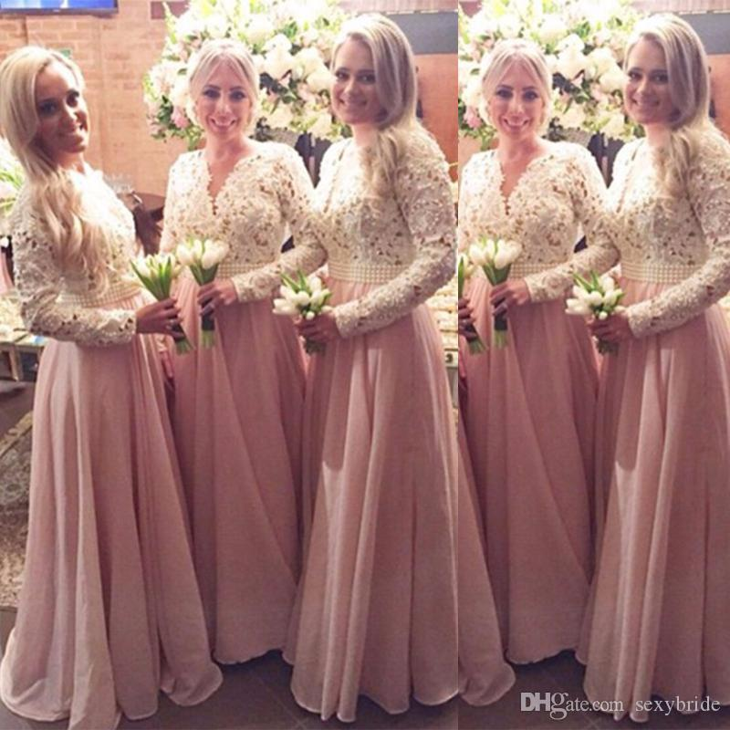 23cd0622dc0 Modest Long Sleeves Country Bridesmaid Dresses A Line 2019 Top Lace Pearls Beaded  Sash Pink Wedding Guest Prom Party Gowns Cheap Plus Size Baby Blue ...
