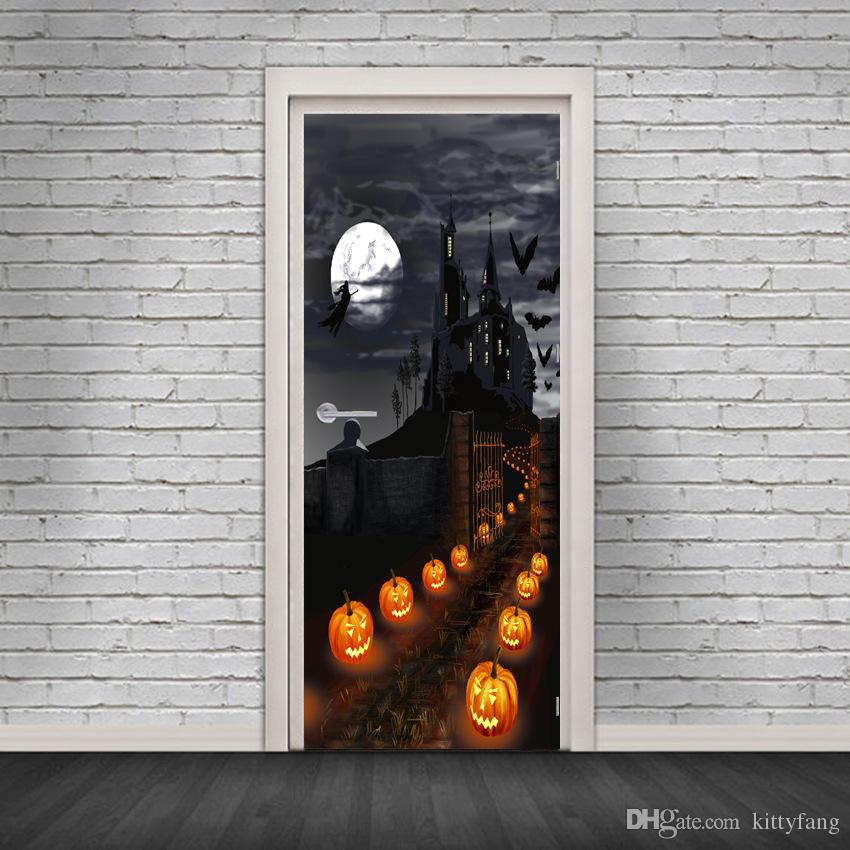 2Pcs/Set Newest Happy Halloween Scary Horror Poster Door Sticker Painting Wallpaper Wall Sticker Party Bedroom Home Decor Gifts