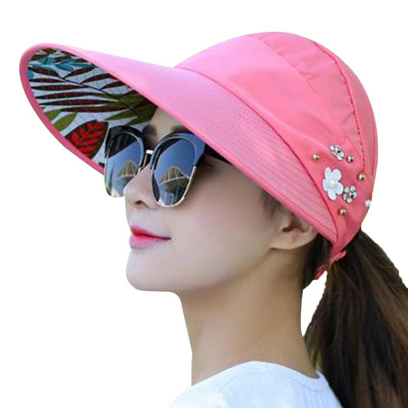 b8c565c12 2018 New Summer Beach Women Sun Hats UV Protection Pearl Packable Sun Visor  Hat With Big Heads Wide Brim Female Cap Hot