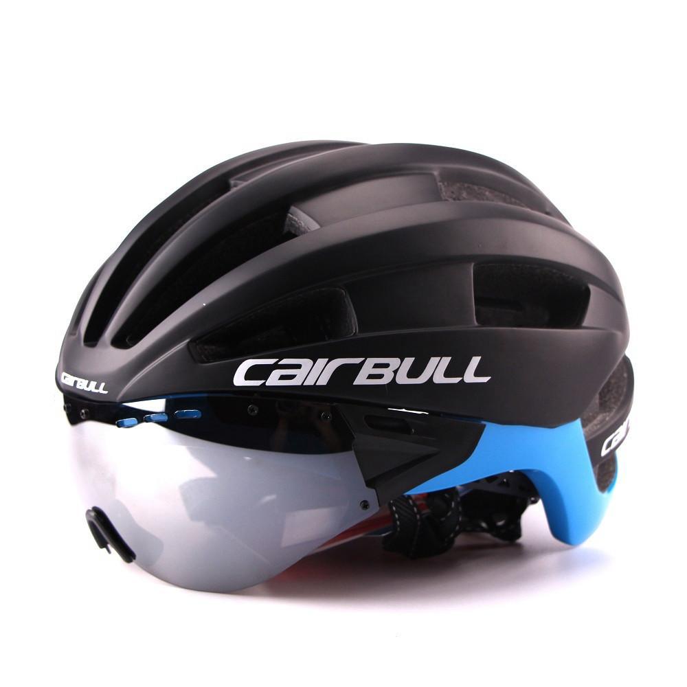Ultra-light 235g Goggles Cycling Helmet Road Mountain MTB Bicycle Helmet In-mold Bike Helmet With Sun Visor Helmet M54-58cm (1)_