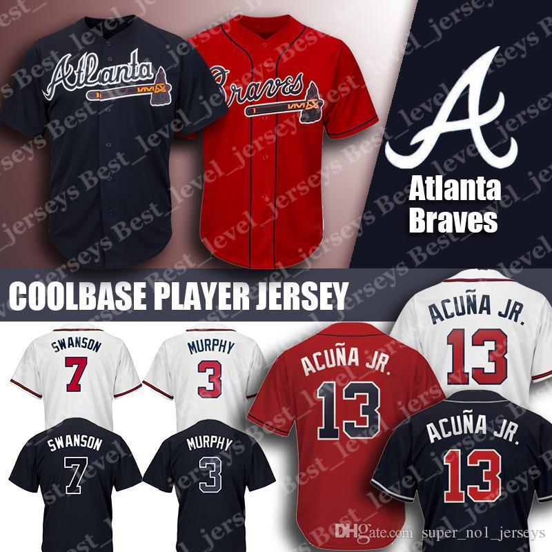 uk availability 8774b 656b2 Braves Jersey 13 Ronald Acuna Jr. Jersey 5 Freddie Freeman Jersey 3 Dale  Murphy 10 Chipper Jones Atlanta Coolbase jerseys