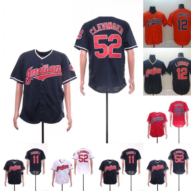 222fb158025 2019 Mens Cleveland Jersey 52 Mike Clevinger 11 Jose Ramirez 12 Francisco  Lindor 99 Rick Vaughn 100% Stitched Indians Baseball Jerseys Cheap From ...