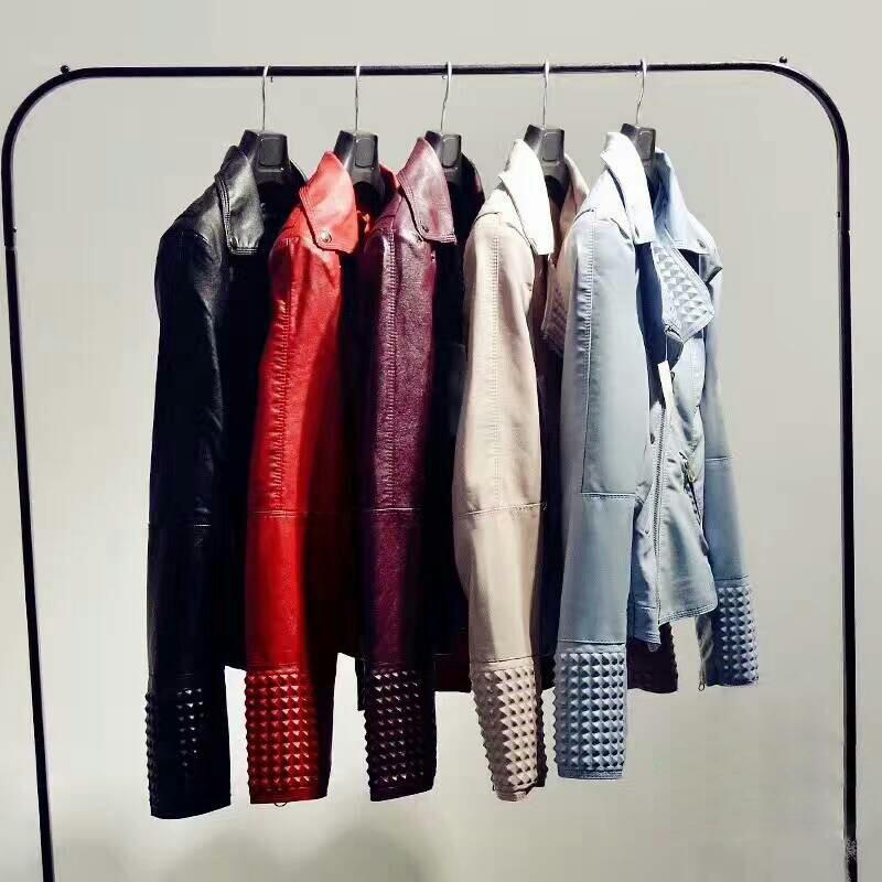 761208293 - Faux Leather Jacket Women Stud/rivet Moto Biker Zip Coats chaqueta Blazer  PU Jack jaqueta couro Rock cuir femme casaco