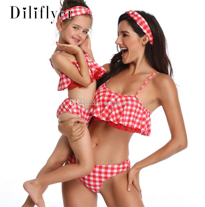 Mommy and me swimsuits kids bikini swimsuits girls lace embroidery falbala plaid split swimming 2019 summer children SPA beach swimwear F481