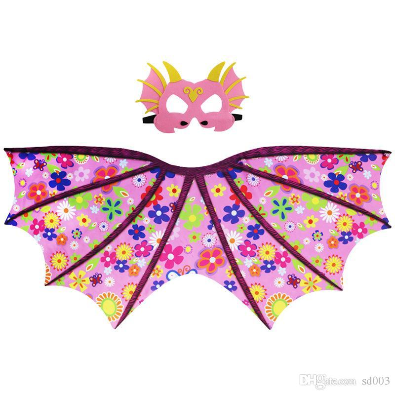 Dinosaur Pattern Mantle Mask Pterosaur Wing Cloak Kid Cape Chiffon Material High Quality Multicolor Hot Sales 24 9dj C1