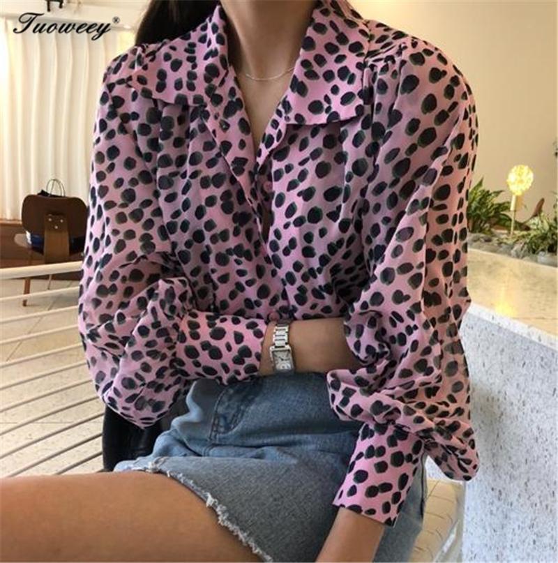 6c0aae945ba4 2019 2019 Women Blouse Leopard Print Shirt Long Sleeve V Neck Top ...