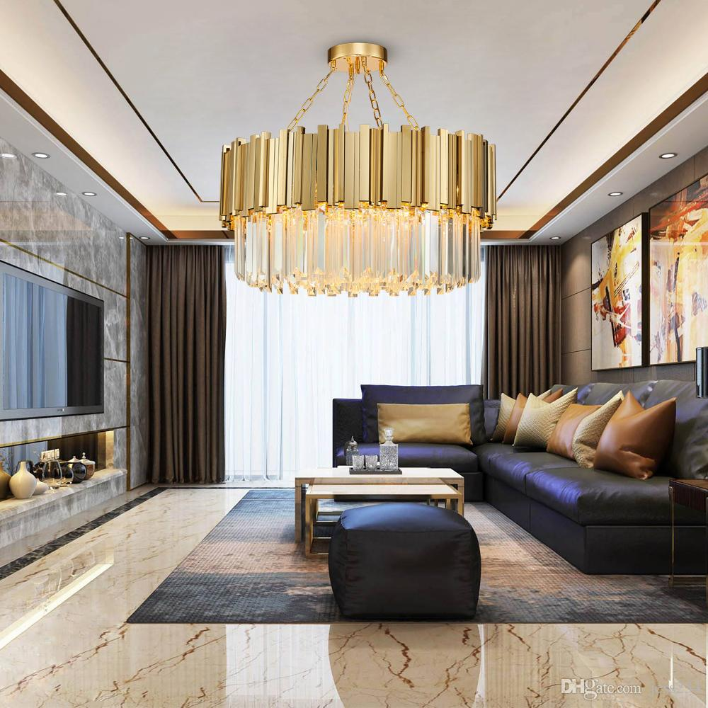 Light Filled Contemporary Living Rooms: Round Modern Chandelier Lighting Living Room Gold Crystal