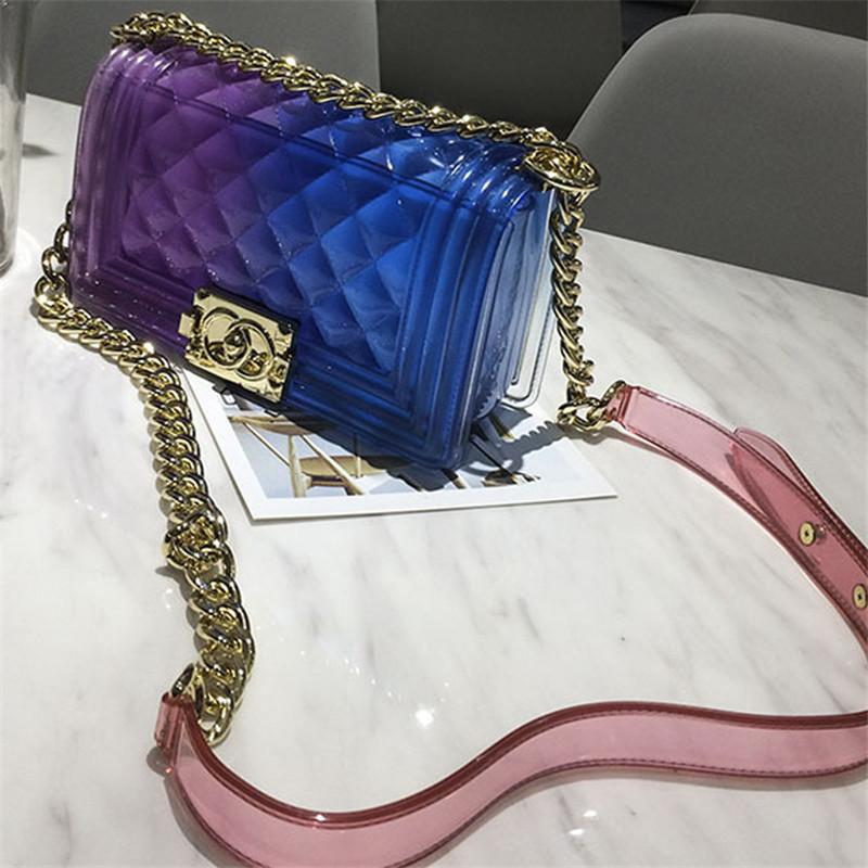 38c093c13a Gradually Changing Color Plaid Jelly Bag Gradient Candy Color Crossbody Bags  Designed Ladies Shoulder Chain Messenger Bag Hobo Handbags Italian Leather  ...