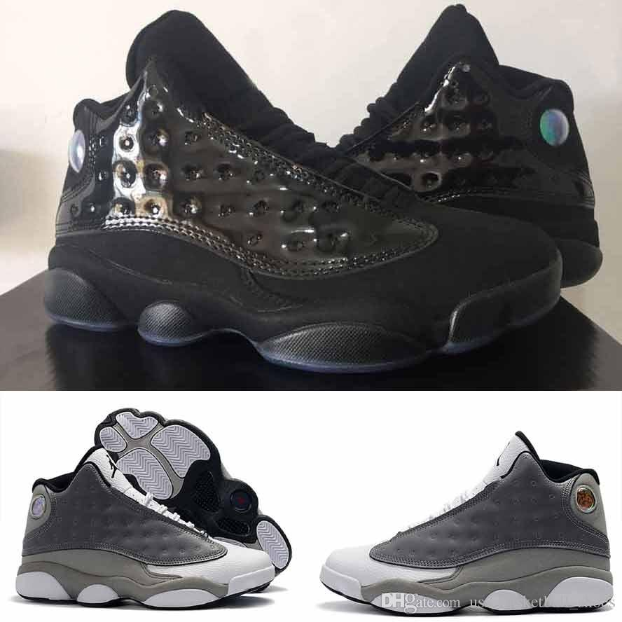 reputable site 13c30 dd7ec Cap and Gown 13 13s XII Men Basketball Shoes Man Atmosphere Grey Black  Green White Blue He Got Game Sneaker Sport Shoes