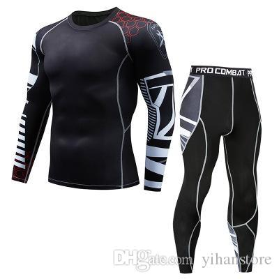 The new 2019 men's suit lightning compression shirt long-sleeved T-shirt trousers male fitness body sweating quick-drying shirt