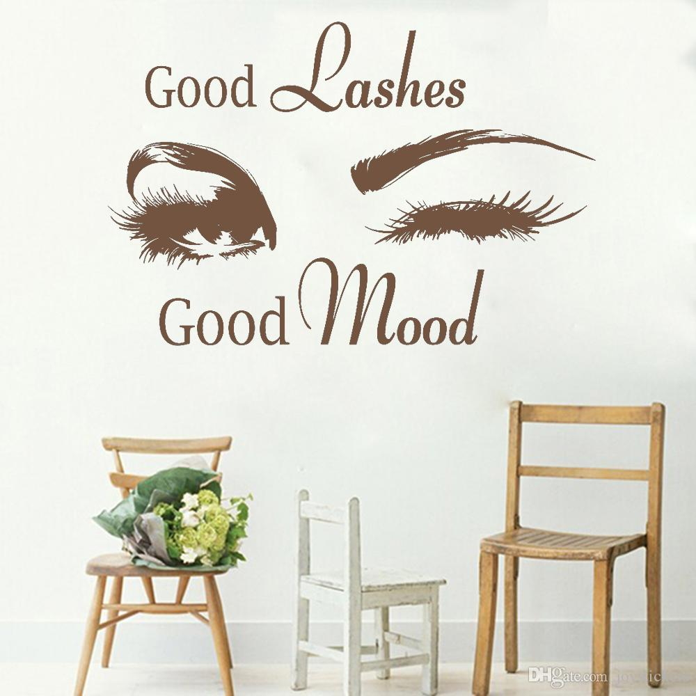 Good Lashes Beauty Salon Quote Wall Stickers Decal Eye Eyelashes Art Girl Room Decals Decor Modern Beauty Shop Vinyl Mural