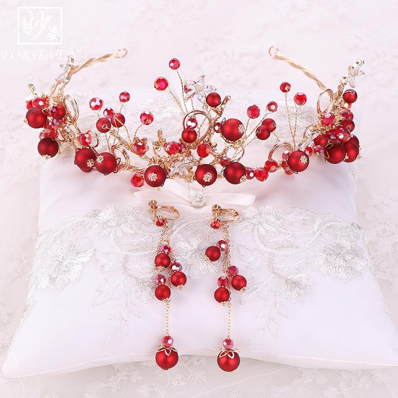 Best Selling High Quality Bride Crown Pearl Headband Princess Ruby Crown Earrings Charm Headdress Elegant Bride Earrings