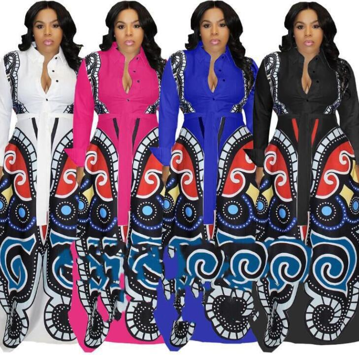 White Large Swing African Print Dresses Women Clothes Plus Size Sexy Elegant Butterfly Print Dress Robe Vintage Design Clothings