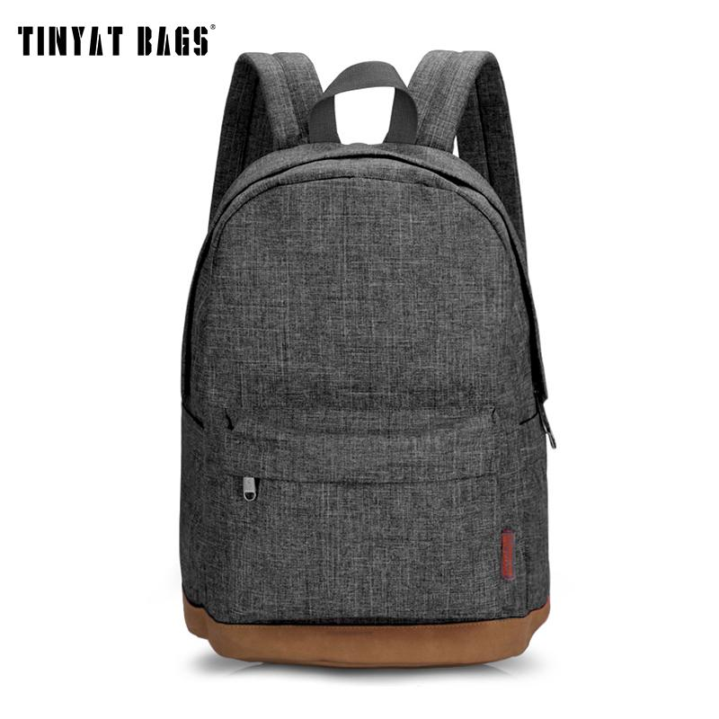 Tinyat Men Male Canvas Backpack Gray Casual Rucksacks 15inch Laptop Backpacks College Student School Bag Backpack Women Mochila Y19061004
