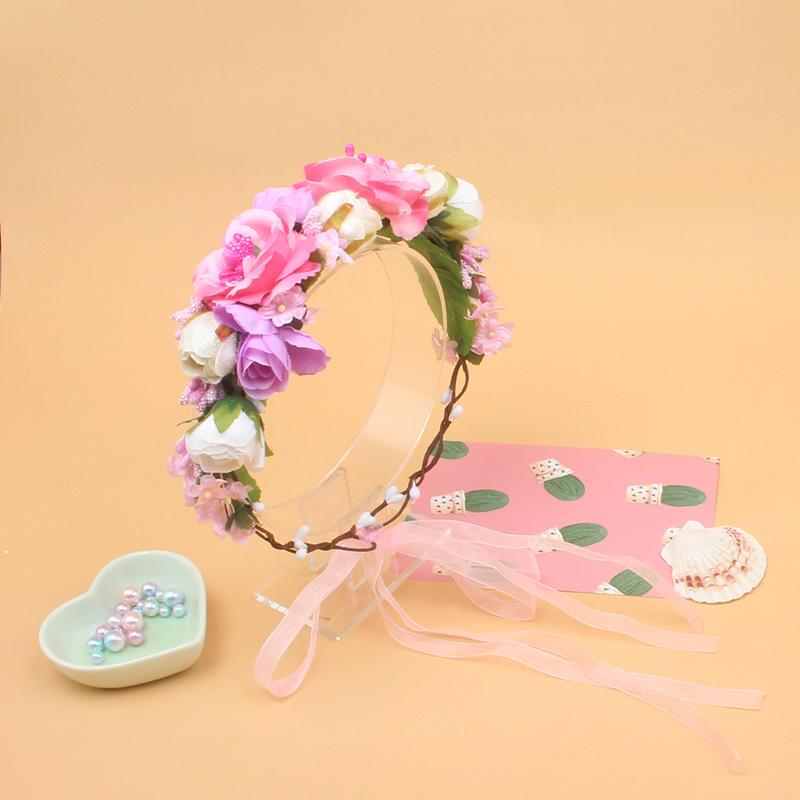 New Fashion Handmade Women Headdress Garland Wreath For Halloween Wedding Floral Headband Ribbon Bow Girl Elastic Hair Accessories
